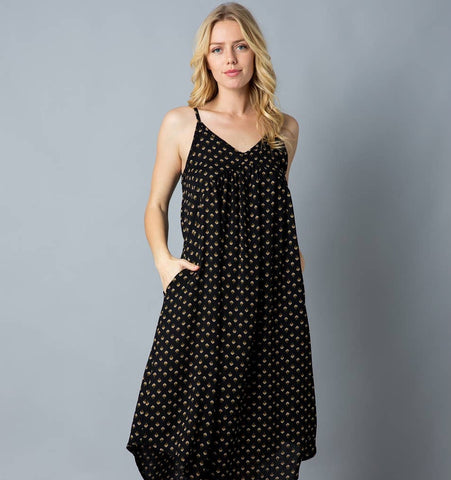 Ladies Sundress with Pockets, Black Geo Print