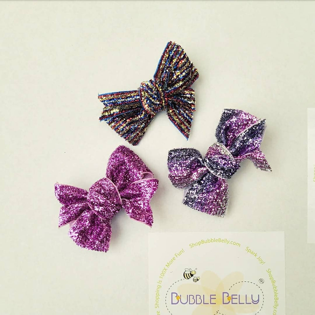 "2"" Bow Non-slip Clip 2 PC Pair, Sparkle Purples"