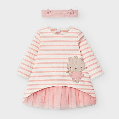 2853 Mayoral Faux Layered Tutu Dress, Striped Pink, Royal Kitty