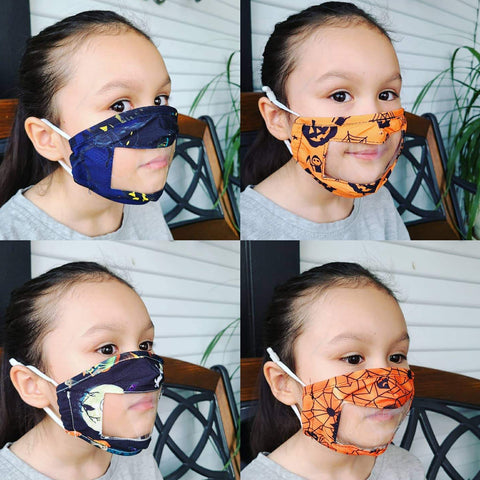 Face Mask w/Clear Panel, Lip Reading, Reusable - Kids Size, Halloween