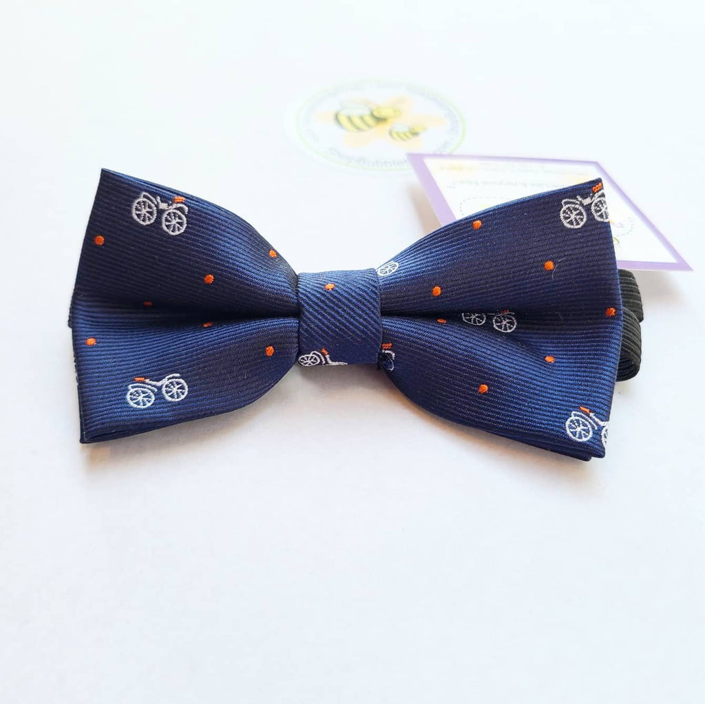 Boys Adjustable Bow Tie - Motorcycle, Navy