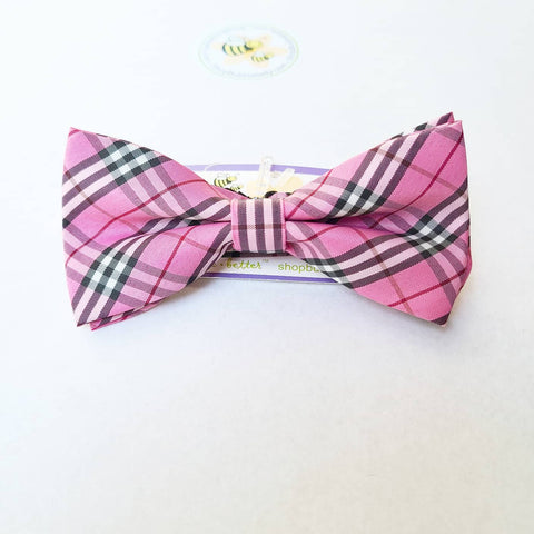 Boys Adjustable Bow Tie - Pink Plaid