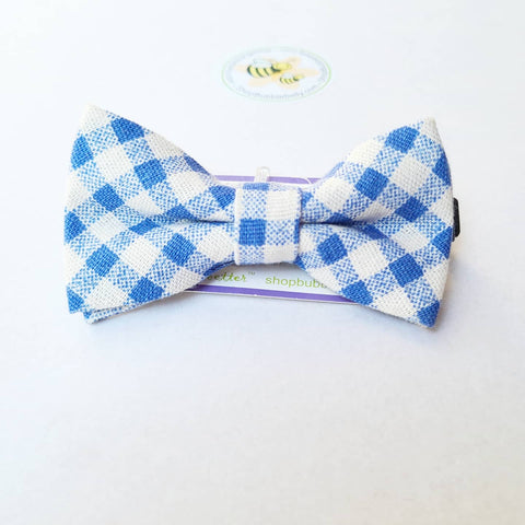 Boys Adjustable Bow Tie - Periwinkle Blue Check