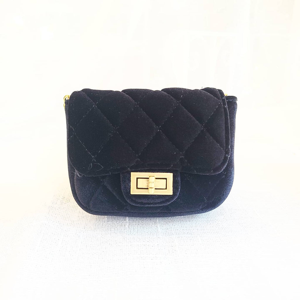 Accessories - Cross Body Velvet Quilted Mini Purse, Classic Black