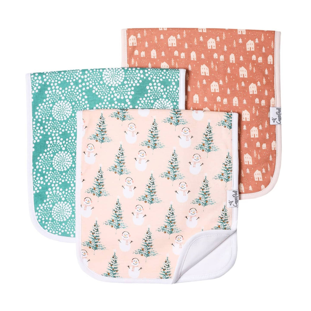 Copper Pearl 3 Pack Burp Cloths, Jane Pink Holiday