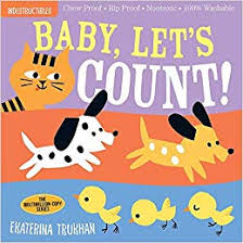 Baby Let's Count Indestructibles Baby Book, Cover with 1 Cat, 2 Dogs and 3 Chickens