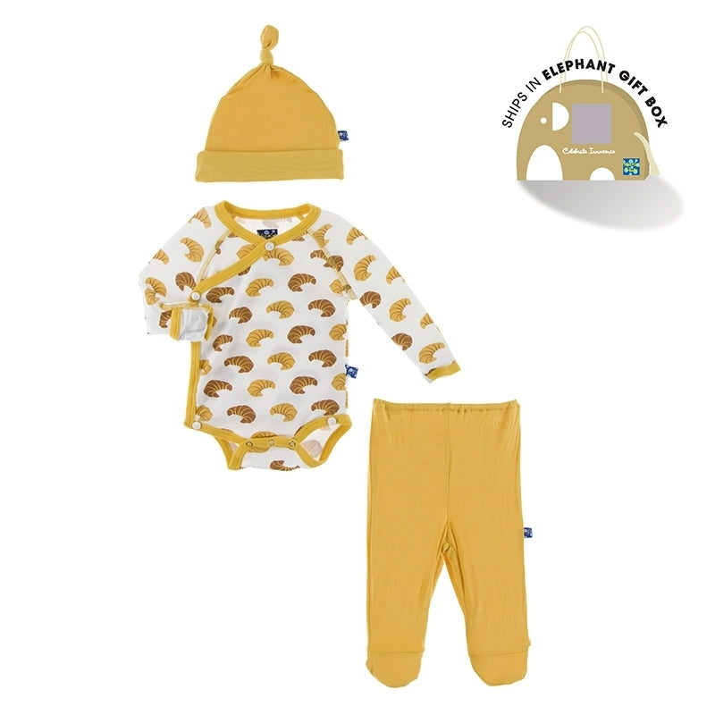 Kickee Pants Infant Take-Me-Home Gift Set - Kimono, Footie & Beanie, 3PC - Croissants