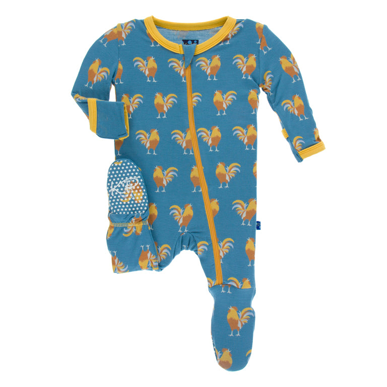 Kickee Pants - Unisex Pajamas, Wake-Up Call, Rooster Footie