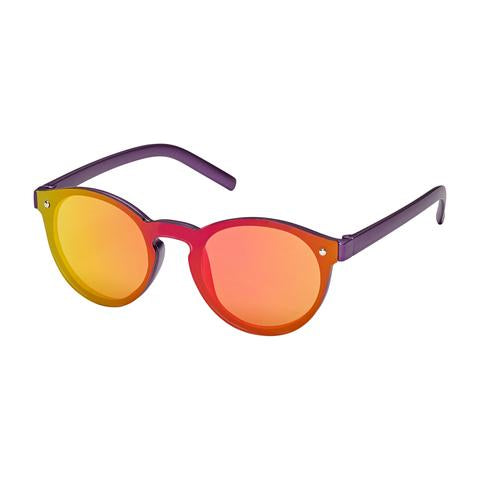 kids sunglasses, sleek modern single lens, smooth design, purple frame