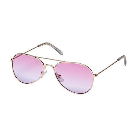 kids metal frame aviators, colored lenses, pink & purple lens