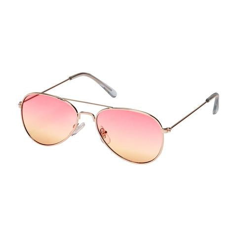 kids metal aviator sunglasses, sunset colored lens