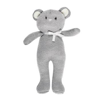 Grey knit rattle bear with bow around neck, 9""