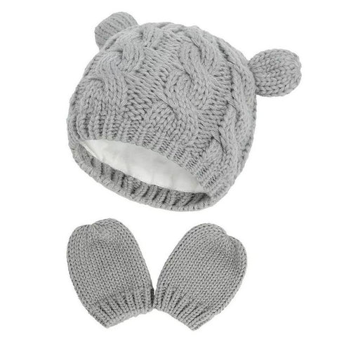 Cable Knit Lined Bear Beanie Hat w/Mittens, Grey