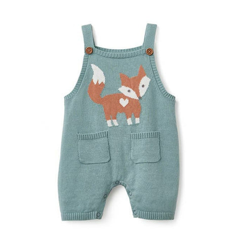 Knit Intarsia Baby Romper Shortall - Chalk Teal Fox