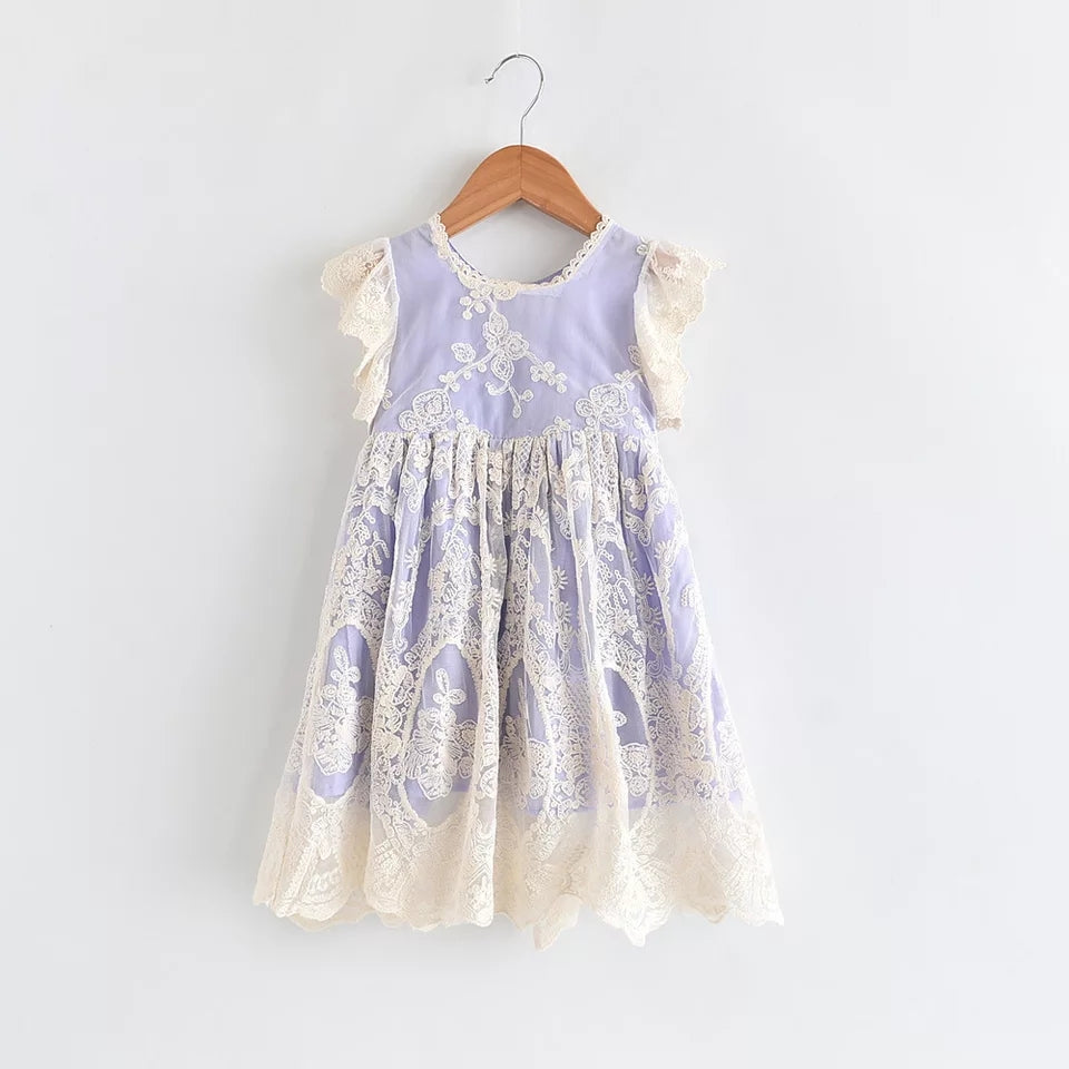 Hayden Girls Dress in Lavender, Laced all over dress and on the shoulders