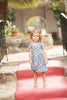 sustainable, eco-friendly dress for girls, vintage indigo floral, modal, beech tree fabric