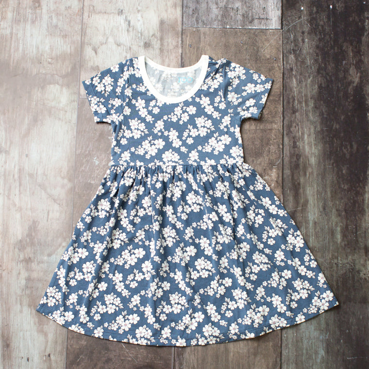 vintage indigo short sleeve dress, modal, eco-friendly clothing for kids