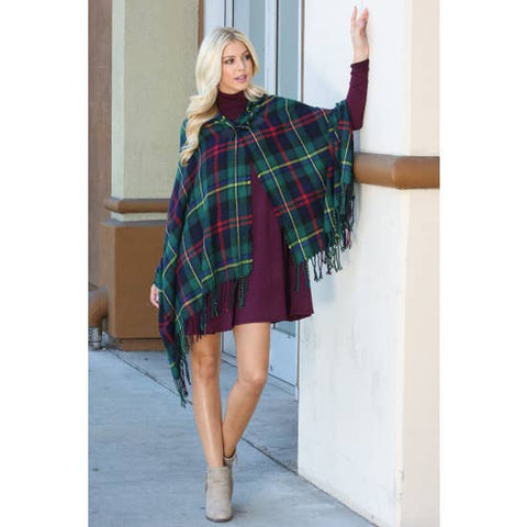 Ladies Hooded Tartan Fringe Toggle Poncho - Forest Green Plaid