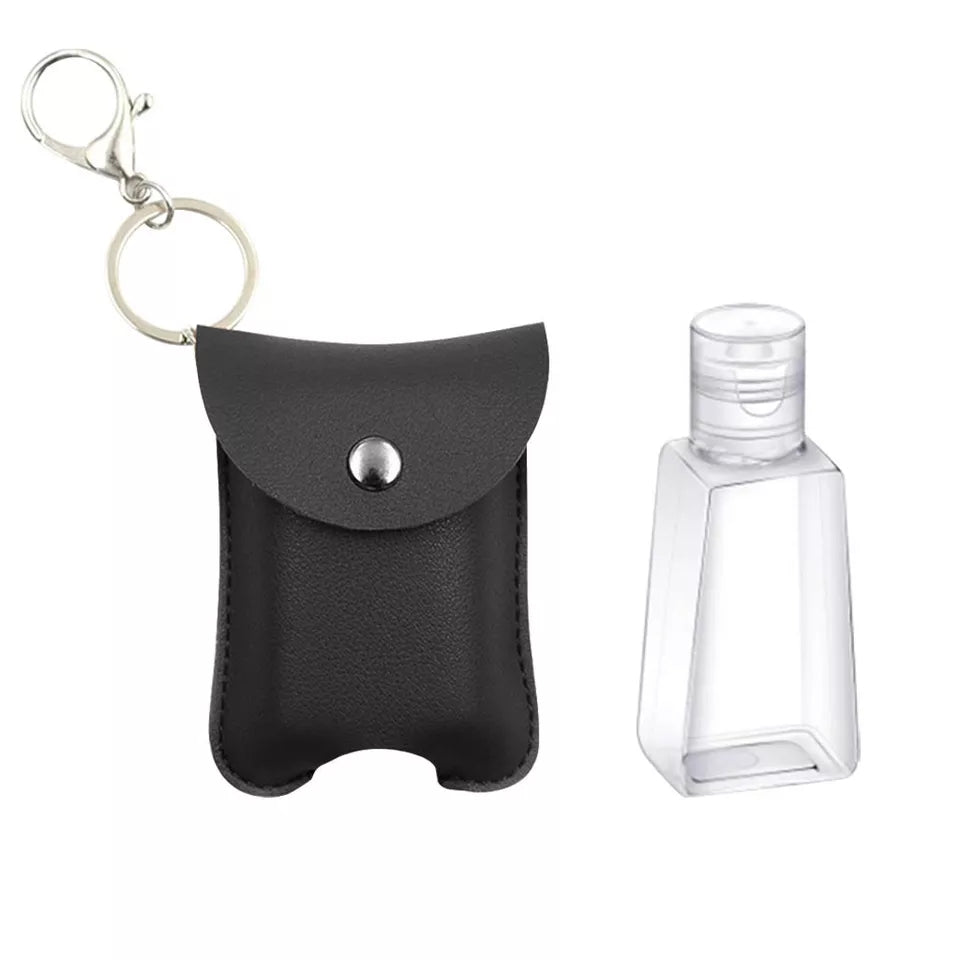 Leatherette hand sanitizer bag clip and keychain