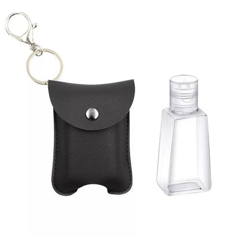 Leatherette Hand Sanitizer Clip & Keychain, Rounded Black