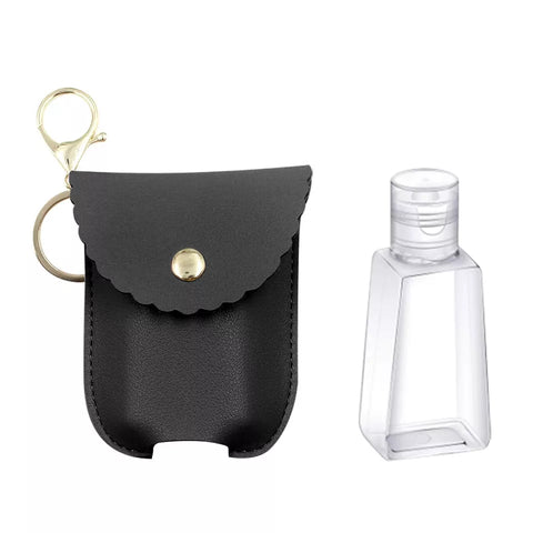 Leatherette Hand Sanitizer Clip & Keychain, Scallopped Black