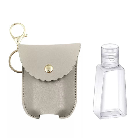 Leatherette Hand Sanitizer Clip & Keychain, Scalloped Grey