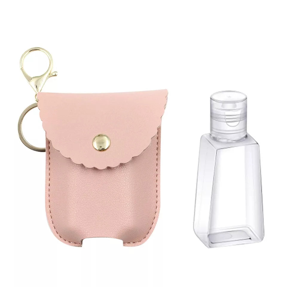 Leatherette Lotion & Hand Sanitizer Clip and Keychain, Pink