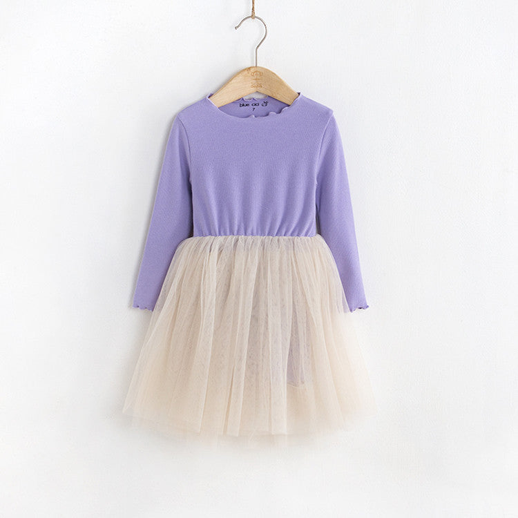 girls long sleeve tutu dress, lavender, purple lettuce edge ribbed cotton, dress