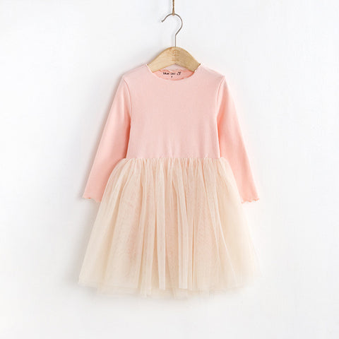 Lettuce Edge, Ribbed Cotton L/S Tutu Dress - Light Pink