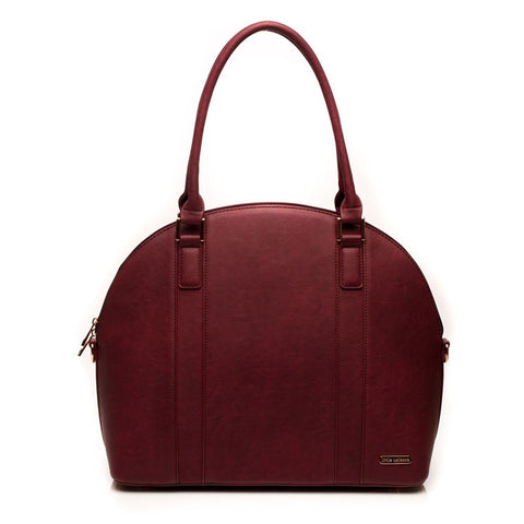 Diaper Bag - Rotunda - Vegan Leather, Pomegranate