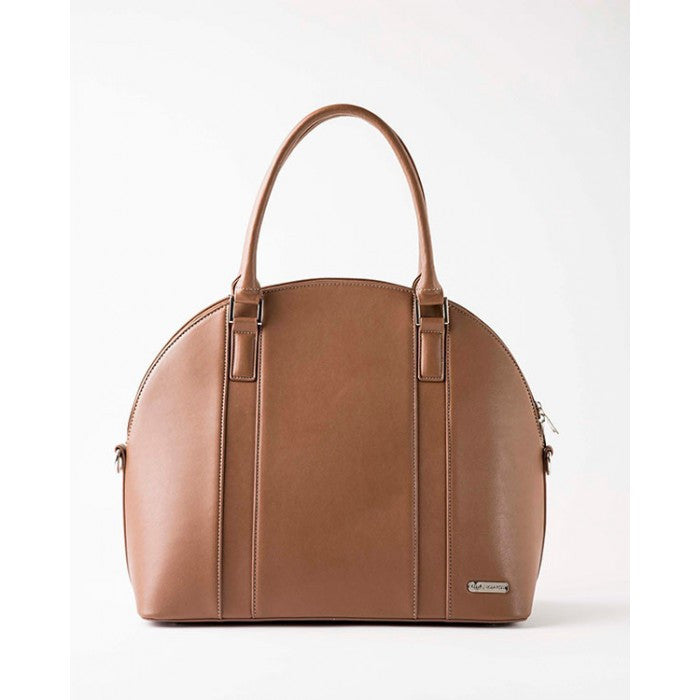 Diaper Bag - Rotunda - Vegan Leather, Caramel Brown