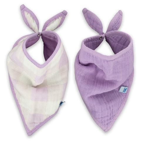Little Unicorn Cotton Muslin Bandana Bibs, 2 Pack - Lilac Plaid