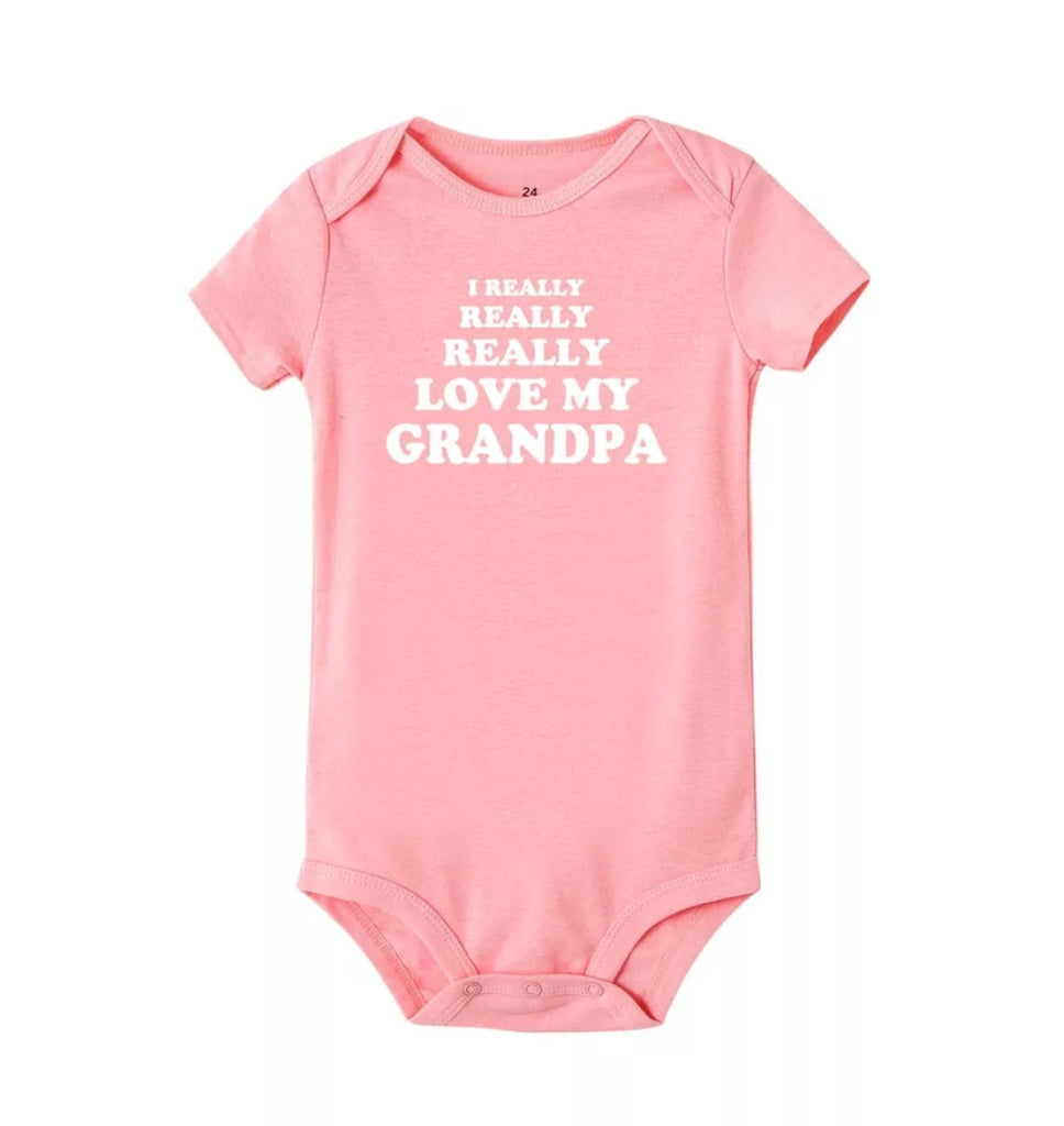 I Really Love My Grandpa Pink Onesie, Bodysuit, White Lettering