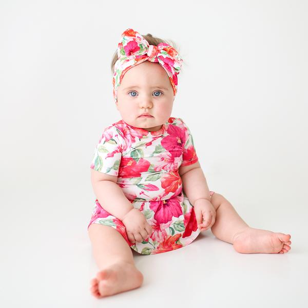 Posh Peanut Bamboo Eco Lux Twirl Skirted Bodysuit, Maui Hibiscus Floral