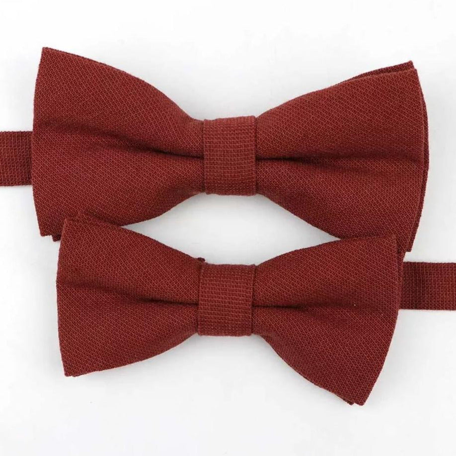 Deep red father and son matching bow ties, adjustable