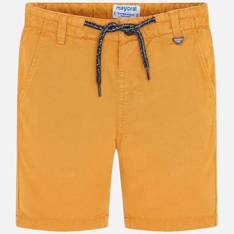 3248 Mayoral Boys Casual Linen Shorts, Mango