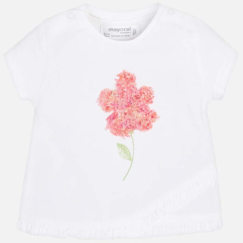 1002 Girls 3D Flower Asymmetric Ruffle Hem T-Shirt