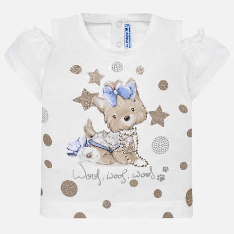 1007 Mayoral Toddler Girls Cold Shoulder Sparkle Puppy Shirt