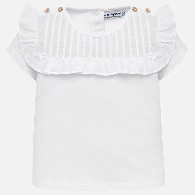 80e9511e932 ... T-Shirt Top with Flutter Sleeves   Buttons. white tshirt with pleats  and ruffles for little girls