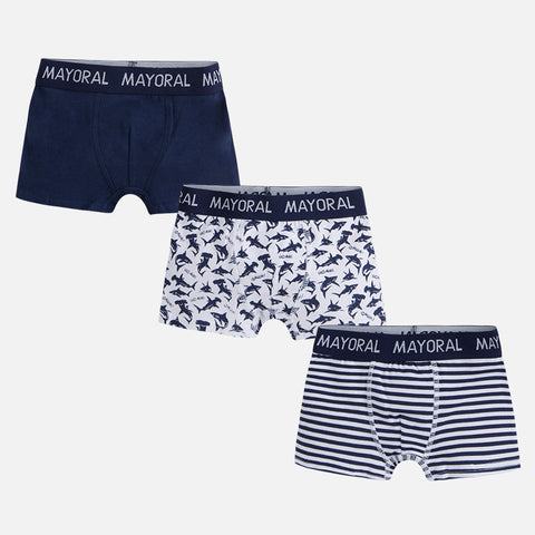 Mayoral 10466 Boys Boxer Briefs, 3 Pack, Navy/White Print