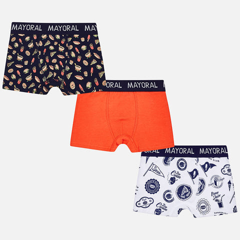 Mayoral 10466 Boys Boxer Briefs, 3 Pack, Navy/Orange Foodie Print