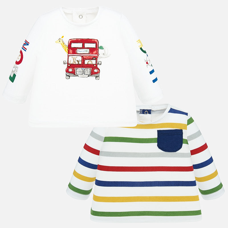 1038 Mayoral 2 PC Set of Long Sleeve Graphic T-Shirts, Double Decker Bus & Stripes