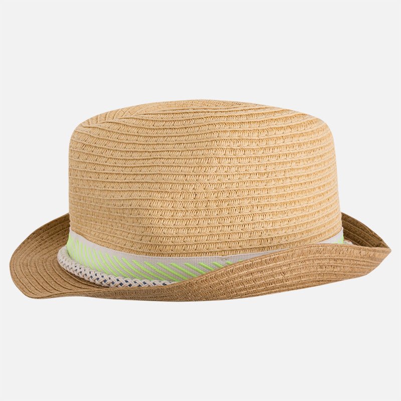 Boys Straw Fedora Hat with Green Band 560ec83992d2