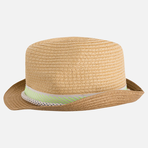 Little Boys Summer Fedora Hat, Straw & Lime Green, Mayoral 10389