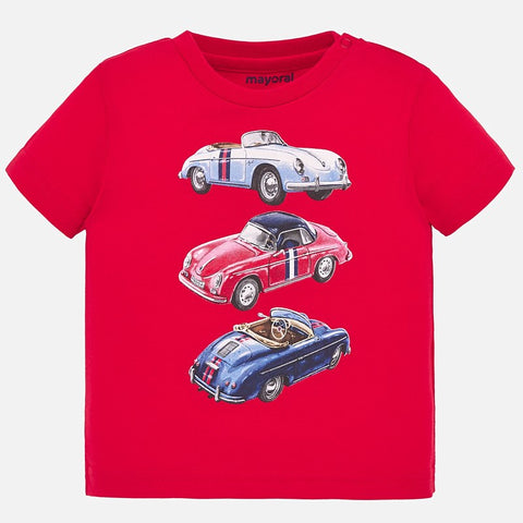 1039 Mayoral Boys Short Sleeve T-shirt, Vintage Race Cars, Hibiscus Red
