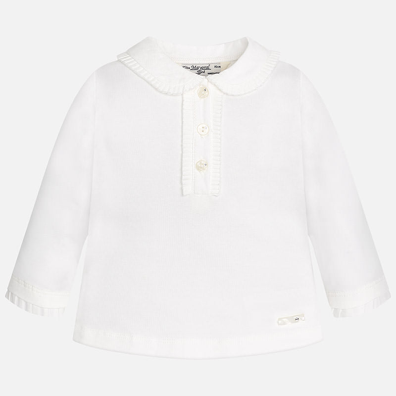 little girls collared white long sleeve shirt with crystal buttons