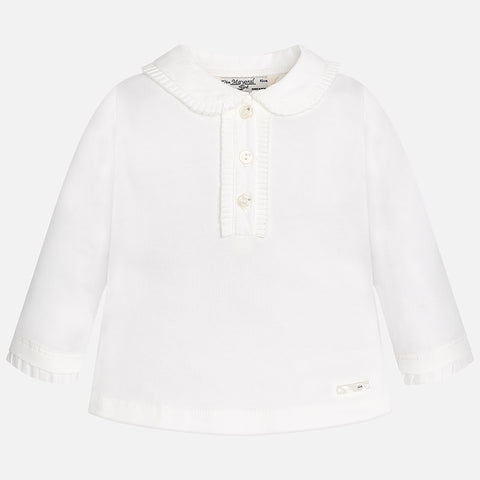 Mayoral, 104, Crystal Button Collared Ruffled L/S Shirt