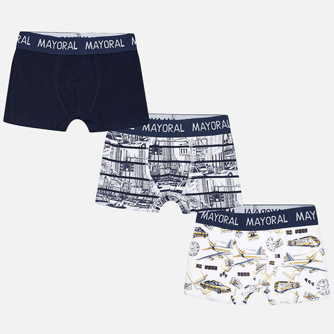 Mayoral 10466 Boys Boxer Briefs, 3 Pack, Navy/Yellow Locomotive Print