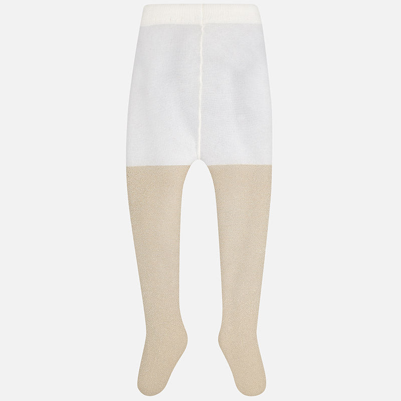 girls gold lurex footed tights, holiday accessories, dress up, mayoral 10495