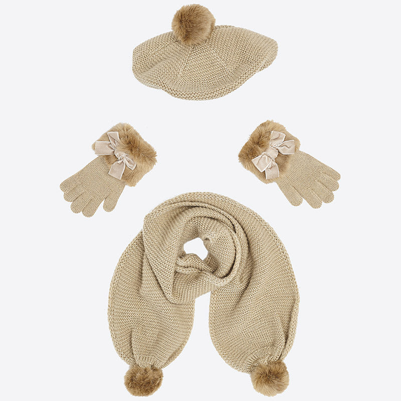 girls gold lurex scarf, hat, and glove set, Mayoral 10505, faux fur